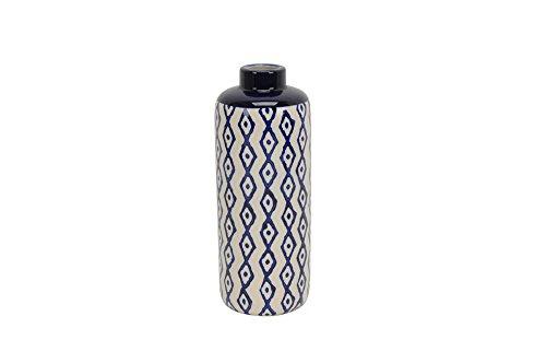 - Benzara BM161311, White and Blue Elegant Ceramic Diamond Pattern Vase Blue & White