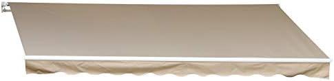 10 x 8-Feet Outsunny Patio Manual Retractable Sun Shade Awning Cream