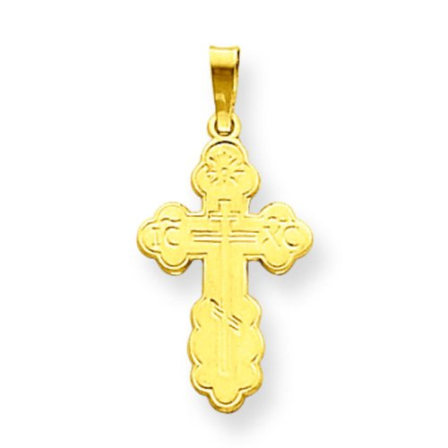 14K Yellow Gold Orthodox Cross Charm Pendant Jewelry by FindingKing