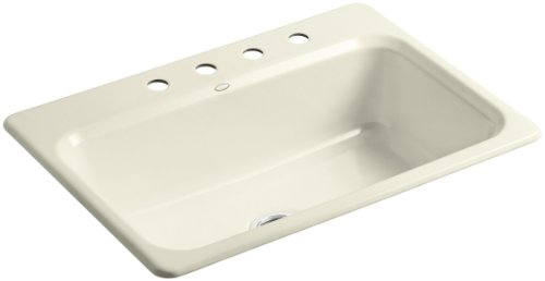 Kohler K-5832-4-FD Bakersfield Self-Rimming Kitchen Sink with Four-Hole Faucet Drilling, Cane Sugar