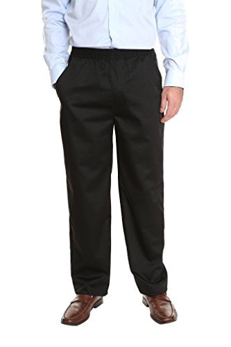 Pembrook Men's Full Elastic Waist Twill Casual Pant - XXL - Black