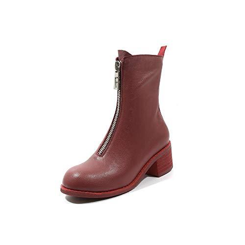 Boots Genuine Calf Red Nine Mid Zip Round Seven Women's Walking Comfort Toe Handmade Mid Chunky Leather Dress Heel f5qawZW5