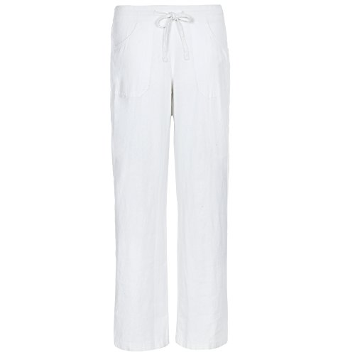 White Linen Blend Pant (Metzuyan Womens Linen Trousers Summer Drawstring Pants Sizes 10-14 Assorted Colours White 8)