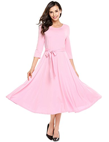 ANGVNS Women Casual Scoop Neck Vintage 3/4 Sleeve Retro Cooktail Party Vacation Business Swing Dress with Belt