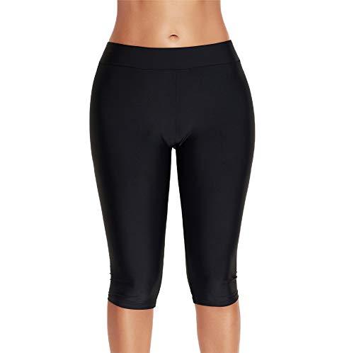 Women's Long Board Shorts High Waist Swim Bikini Tankini Bottom Shorts Beach Surf Swimwear Shorts (Black-2, X-Large) ()