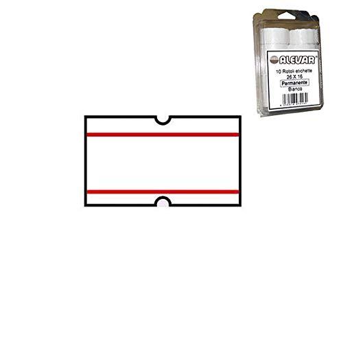 21x12 Blister 12 Rotoli Etichette per Prezzatrice Bianco Permanente Riga Rossa