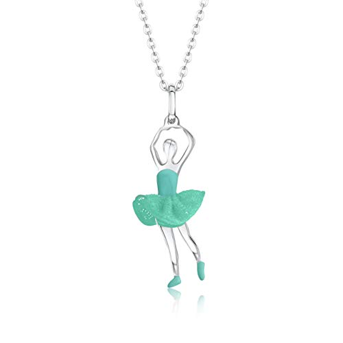 UNICORNJ Childrens Teens Sterling Silver 925 Ballerina Ballet Dancer Pendant Necklace with Turquoise Color Tulle Tutu and Enamel 16
