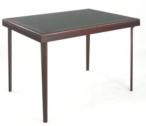 (Cosco Rectangular Wood Folding Game Table with Vinyl Inset |)