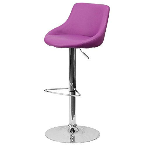 - KLS14 Modern Design Bar Stool Bucket Seat Design Hydraulic Adjustable Height 360-Degree Swivel Seat Sturdy Steel Frame Chrome Base Dining Chair Bar Pub Stool Home Office Furniture - (1) Purple #1985