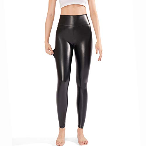 e47c0baf761 Samuel Womens Sexy Black Faux Leather Leggings Pants High Waisted Tights