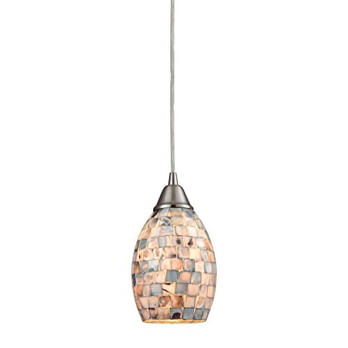 Elk Lighting Capri Pendant in Satin Nickel and Gray Capiz Shell (Capiz Light Pendant)