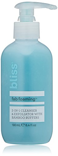 Bliss Fab Foaming 2-In-1 Cleanser & Exfoliator with Bamboo Buffers | Oil-Free Gel | Paraben Free, Cruelty Free | 6.4 fl oz