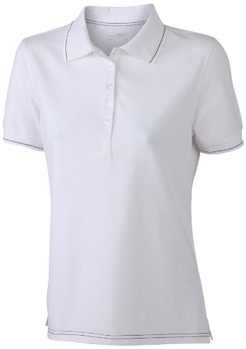 James & Nicholson Funktionspolo Elastic - Polo Mujer, Blanco (white/black), Small (Talla del fabricante: Small)