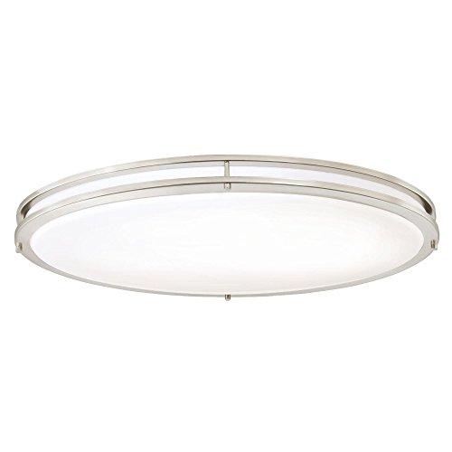 Westinghouse Lighting 6307800 32-1/2-Inch Oval Energy Star LED Indoor Flush Mount Ceiling Fixture, Brushed Nickel Finish with White Acrylic Shade