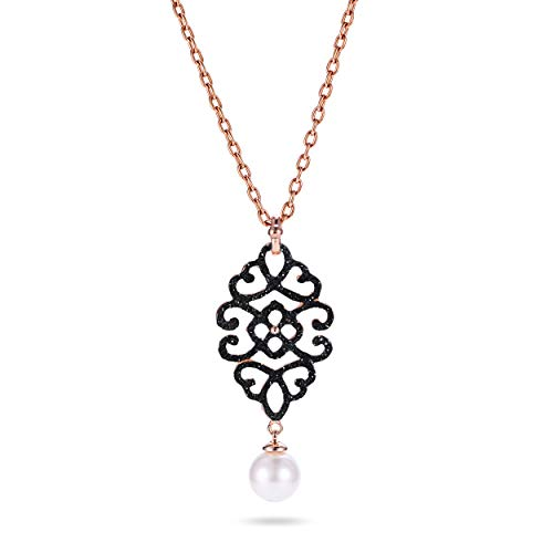 "NanoStyle Rose Gold Plated Filigree Drop Necklace Black Stardust Pendant Simulated Shell Pearl, 19.7"" + 2"" Extender"
