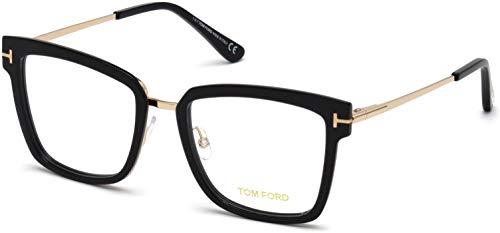 Tom Ford FT 5507 Geomteric Metal Eyeglasses Frame 53-18-140 Shiny Black ()