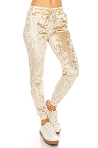 (ALWAYS Women Velvet Velour Pants - Crushed Velour Solid Basic Premium Soft Stretch Warm Winter Sweatpants Joggers Cream L)
