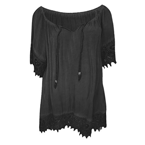 Lovor Women's Chiffon Tops V Neck Strappy Solid Lace Patchwork Half Sleeve T Shirt Irregular Hem Blouse Shirt Tops(Black,XXXL)