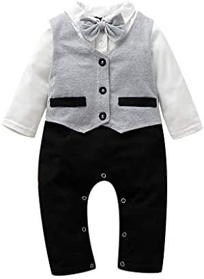 Gallity Baby Boys Gentleman Outfits Suits Infant Baby Romper with Tie and Overalls Bib Pants Wedding Tuxedo Outfits (6-12 Months, Gray)