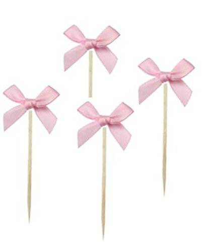 Shiningparty 24 Pack Pink Ribbon Bow Party Wedding Cupcake Toppers Birthday Cake Toppers