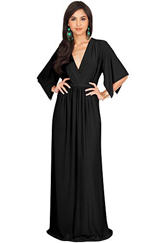 - KOH KOH Plus Size Womens Long Kaftan Caftan Short Sleeve Empire Waist Flowy V-Neck Summer Bridesmaid Evening Sexy Cute Modest Maternity Gown Gowns Maxi Dress Dresses, Black XL 14-16
