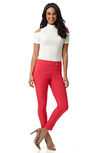 Rekucci Women's Ease in to Comfort Slim Ankle Pant with Snaps (6,Lipstick)