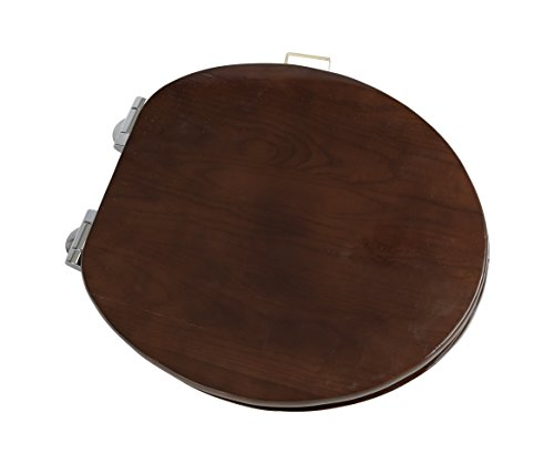 Bath Décor 5F1R3-18CH Solid Oak Slow Close Round Contemporary Design Closed Front with Cover Toilet Seat with Chrome Hinge, Stained Dark (Dark Stained)