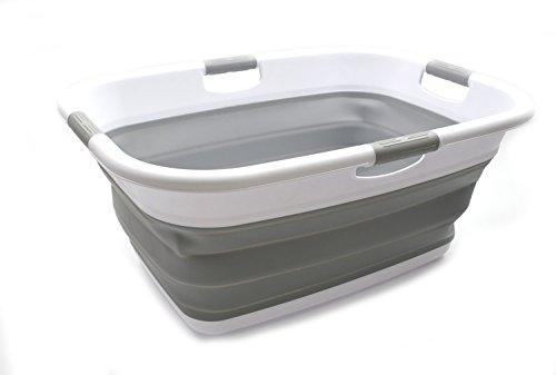 (SAMMART Collapsible 4 Handled Laundry Basket - Foldable Storage Container/Organizer - Portable Washing Bin - Space Saving Hamper - Pet Bath Tub (2 pcs - Rectangular, Grey))