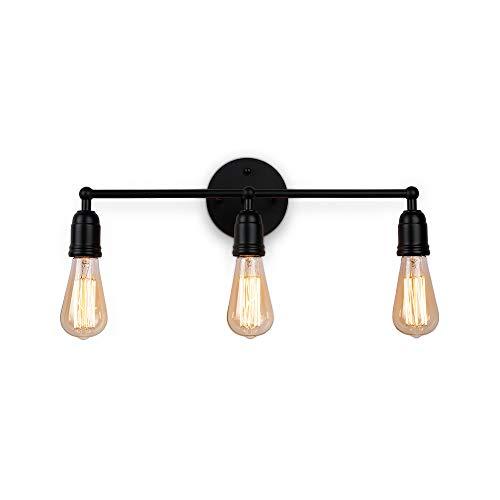 Create for Life 3-Light Vanity Lights Black Wall Sconces Vintage Rustic Bathroom Wall Lighting