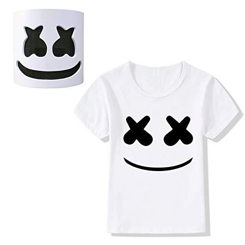Summer DJ Smiley Face T-Shirt+Latex Helmet Full Mask,Halloween Costume for Kids, 7-10T/White B]()