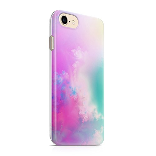 Pastel Gradient iPhone 7 Case iPhone 8 Case(4.7) uCOLOR Abstract Cloud TPU Dual Layer Protective Case for iPhone 7/8 with Slim Tempered Glass Screen Protector