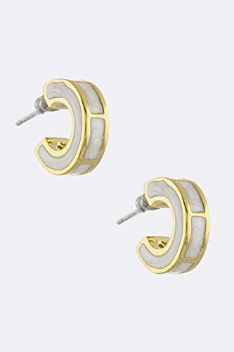 KARMAS CANVAS GOLD FRAMED LACQUERED CRESCENT STUD EARRINGS (White)