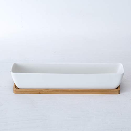 (Sea Star 11.1x2.36x1.77inch Long Rectangular Modern Minimalist White Ceramic Succulent Planter Pot with Saucer for Office,Desk,Window.)