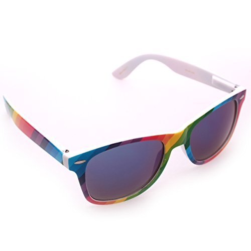 Rainbow Wayfarer Sunglasses Blue Iridium - Glasses Tie Dye