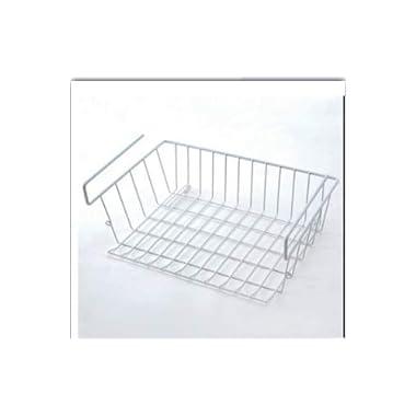 Samyoung 2 Pack Stackable Hanging Basket,Under Shelf Hanging Wire Storage Basket for Kitchen, Pantry, Cabinet,White