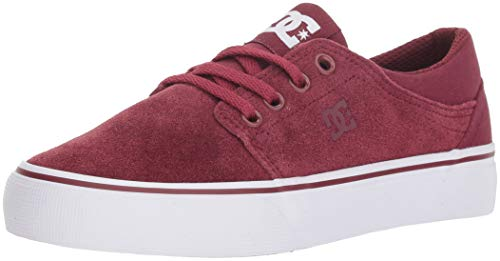 Suede Dc Sneakers - DC Girls' Trase Skate Shoe, Burgundy, 3 M US Little Kid