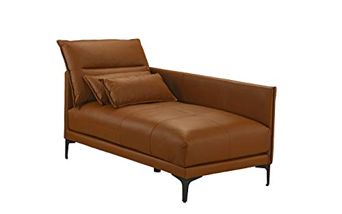 - Mid Century Modern Living Room Leather Chaise Lounge (Camel Brown)