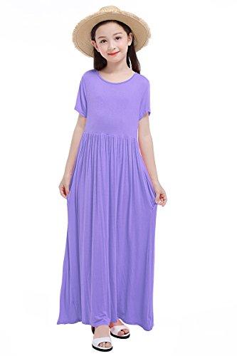 RBwinner Girls Short Sleeve Round Neck Pocket Casual Long Maxi Dress Size 4-13 Years Old (L, Purple)