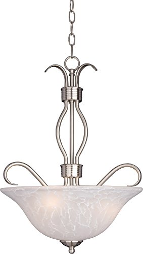 Maxim 10121ICSN Basix 3-Light Invert Bowl Pendant, Satin Nickel Finish, Ice Glass, MB Incandescent Incandescent Bulb , 8.5W Max., Wet Safety Rating, 3000K Color Temp, Metal Rod + Clear Gl Shade Material, 1190 Rated Lumens ()