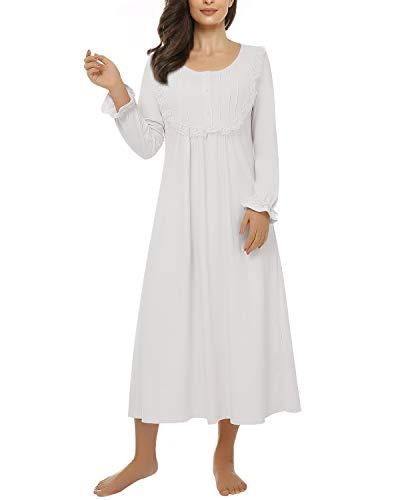 Suzicca Women's Sleepwear Lace Nightdress Victorian Vintage Nightgown Loungewear Pajamas Blue XX-Large
