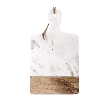 IMAX 82511 Addy Marble and Wood Cheese Board – Marble Board, Wine Towel Rack, Wine Shelf, Wall Art. Storage and Serveware