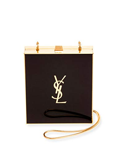 Saint Laurent Tuxedo Box Minaudiere, Black/Gold made in Italy