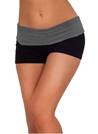 Workout Basic Women's Short Active Stretch Yoga Shorts Gray-L