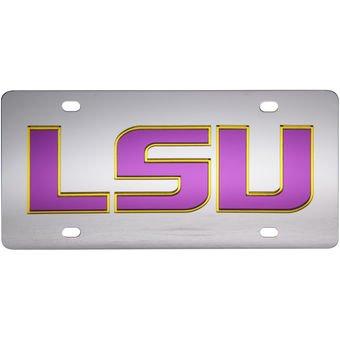 (LSU TIGERS Silver-Gold-Purple Mirrored License Plate)