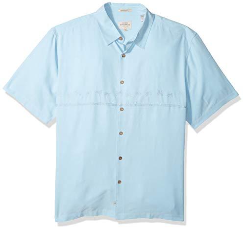 Quiksilver Waterman Men's Tahiti Palms 4 Button Down Shirt, Crystal Blue, -