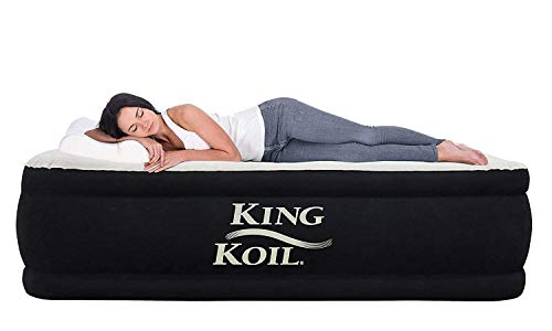 King Koil California King Luxury Raised Air Mattress with Built-in 120V AC High Capacity Internal Pump Comfort Quilt Top First Ever Cal King Airbed King for Home Camping Travel 1-Year -