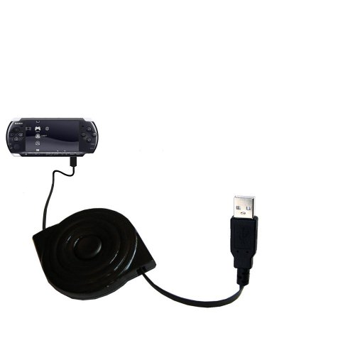 compact and retractable USB Power Port Ready charge cable designed for the Sony PSP-3001 Playstation Portable Slim and uses TipExchange (Psp 3001 Handheld)