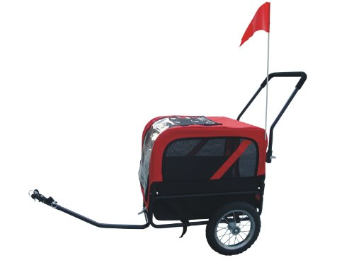 MDOG2 MK1484 Comfy Pet Bike Trailer/Jogging Stroller, Small, Red/Black by MDOG2