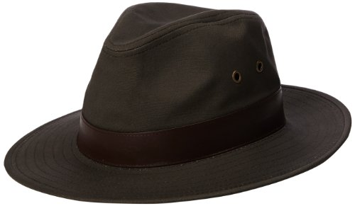 (Henschel Men's Outback Crushable Cotton Canvas with Leather Band Hat, Olive, Large)