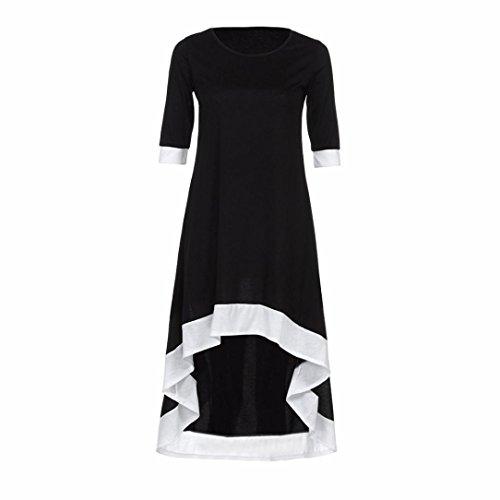 DOLDOA Mujeres Irregular O Cuello Casual Vestidos de fiesta medio vestido Negro manga Negro